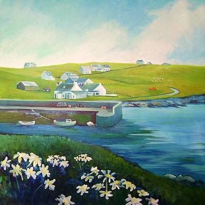 Scotland Painting - Lewis Harbour And Village by Stephanie  Maclean