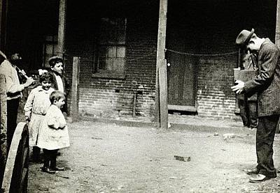 Photograph - Lewis Hine Photographing Children In A Slum Location Or Photographer Unknown Circa 1910 by David Lee Guss