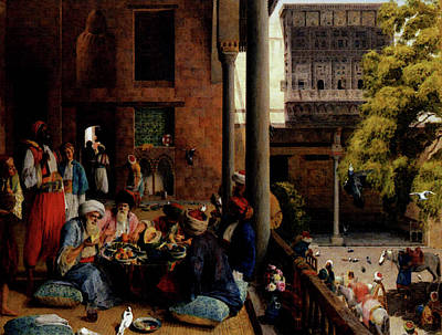 Midday Digital Art - Lewis John Frederick The Midday Meal Cairo by John Frederick Lewis