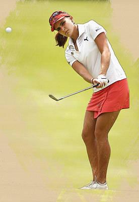 Golf Digital Art - Lexi Thompson Chips To The First Green  by Don Kuing