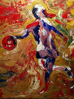 Basketball Abstract Painting - Lexi's At Point by J Michael Affolter
