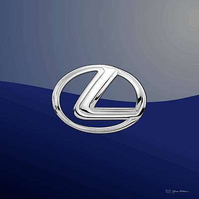 Digital Art - Lexus 3d Badge Special Edition On Blue by Serge Averbukh