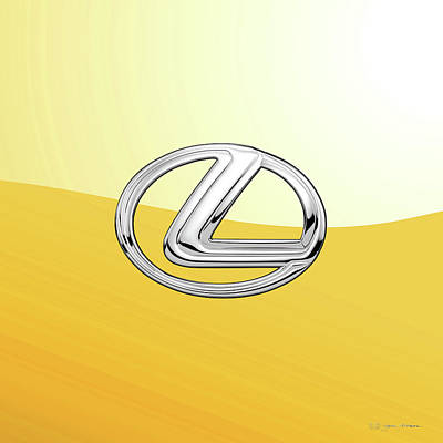 Digital Art - Lexus 3d Badge Special Edition On Yellow by Serge Averbukh