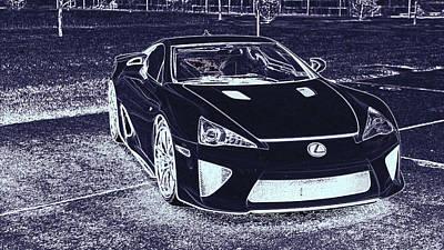 Digital Art - Lexus Lfa White Super Car by PixBreak Art