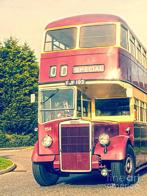 Carrier Mixed Media - Leyland Double Decker Bus by Linsey Williams