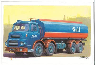 Painting - Leyland Octopus Gulf Oil. by Mike Jeffries