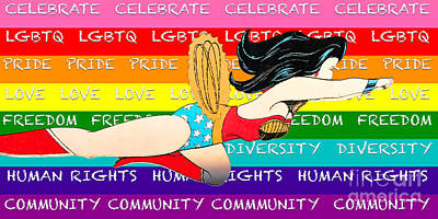 Digital Art - Lgbtq Wonder Women by Linda Weinstock