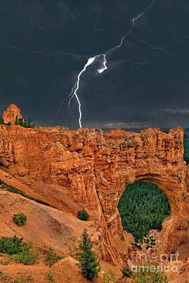 Photograph - Lghtning Strike Natural Bridge Bryce Canyon National Park Utah by Dave Welling