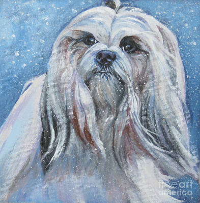 Painting - Lhasa Apso In Snow by Lee Ann Shepard