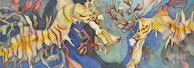 Sea Dragon Painting - L'hippocampe Jaune by Liduine Bekman