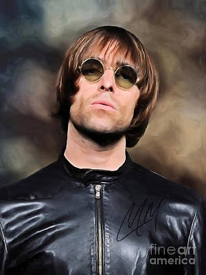Digital Art - Liam Gallagher Oasis Art With Autograph by Kjc