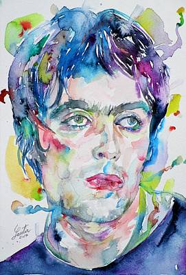 Painting - Liam Gallagher - Watercolor Portrait by Fabrizio Cassetta