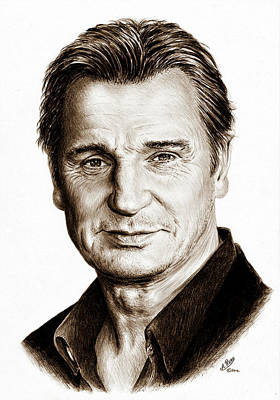 Drawing - Liam Neeson Sepia by Andrew Read