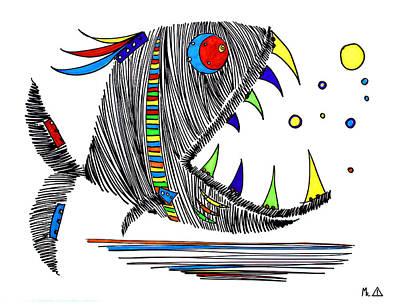Piranha Painting - Lib-963 by Mr Caution