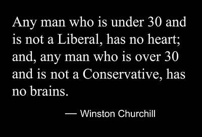 Liberal Digital Art - Liberal Vs Conservative - Winston Churchill Quote by Daniel Hagerman