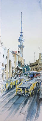 Liberation Painting - Liberation Tower From Old Souk Kuwait by Saqib Akhtar