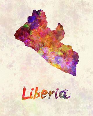 Liberia  In Watercolor Art Print by Pablo Romero