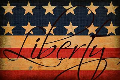 Antique Look Digital Art - Liberty Americana Flag by Chastity Hoff
