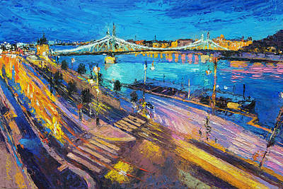 Belgrade Painting - Liberty Bridge And The Danube At Night by Judith Barath