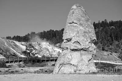 Photograph - Liberty Cap Hot Spring Cone At Mammoth Hot Springs Yellowstone National Park Wyoming Black And White by Shawn O'Brien