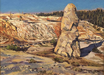 Painting - Liberty Cap, Mammoth Terraces, Yellowstone Np by Les Herman