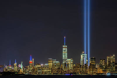 Photograph - Liberty, Empire, Wtc And The Tribute In Light by Mark Robert Rogers