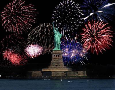 Liberty Fireworks 1 Art Print by BuffaloWorks Photography