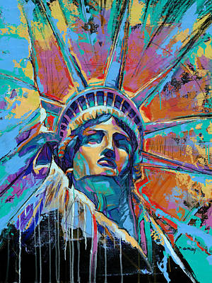 Statue Painting - Liberty In Color by Damon Gray