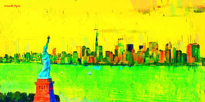 Roof Digital Art - Liberty In New York - Da by Leonardo Digenio