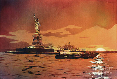 Painting - Liberty Island- New York by Ryan Fox