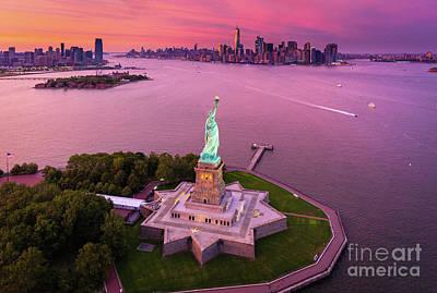 Liberty Building Photograph - Liberty Island Twilight by Inge Johnsson
