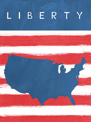 Americas Map Painting - Liberty by Linda Woods
