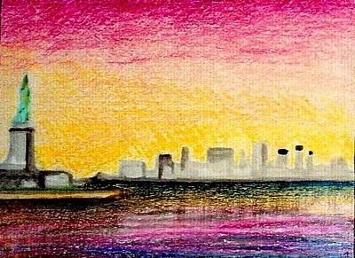 City Sunset Drawing - Liberty On Skyline by Kimberly Simon