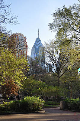 Liberty Place And Rittenhouse Square In The Spring Art Print by Bill Cannon