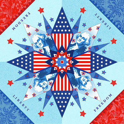Red And White Quilt Digital Art - Liberty Quilt by Valerie Drake Lesiak