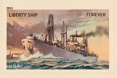 Liberty Ship Stamp Art Print by Heidi Smith