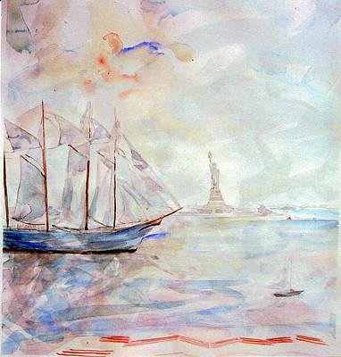 Painting - Liberty Weekend July 4 1986 by Caroline Krieger Comings