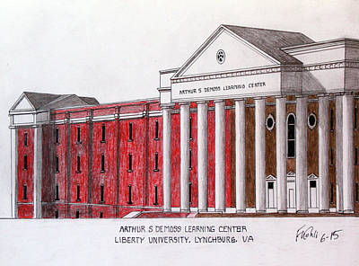 Drawing - Liberty University Demoss Learning Center by Frederic Kohli