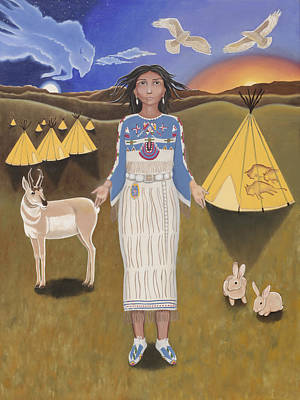 Libra / White Buffalo Calf Woman Art Print by Karen MacKenzie