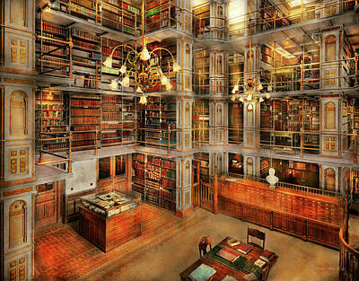 Library - A Literary Classic 1905 Art Print by Mike Savad