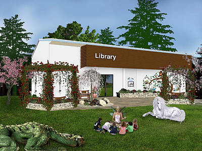 Flower Pink Fairy Child Digital Art - Library by David Griffith