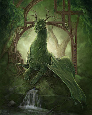 Library Dragon Art Print