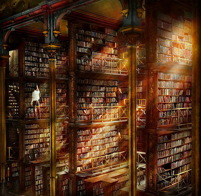 Library - It Starts With A Single Page 1920 Art Print by Mike Savad