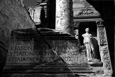 Photograph - Library Of Celsus - B/w by Jacqueline M Lewis