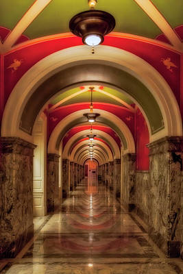 Photograph - Library Of Congress Building Hallway by Susan Candelario