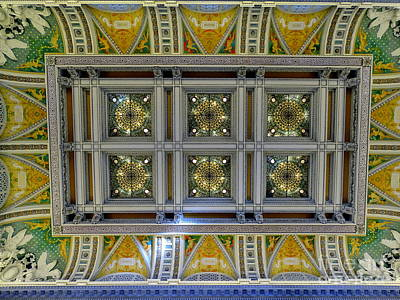 Photograph - Library Of Congress Ceiling by Ed Weidman
