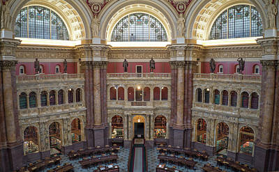 Photograph - Library Of Congress Main Reading Room by Jared Windler