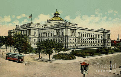 Drawing -  Library Of Congress Washington Dc 1900s by Aapshop