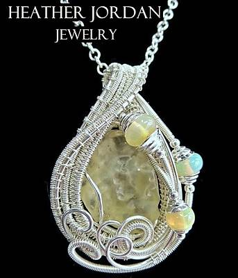 Libyan Desert Glass Meteorite Impactite Pendant In Sterling Silver With Ethiopian Opals Ldgpss11 Original by Heather Jordan