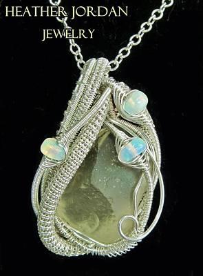 Heather Jordan Jewelry - Libyan Desert Glass Meteorite Impactite Pendant In Sterling Silver With Ethiopian Opals Ldgpss12 by Heather Jordan